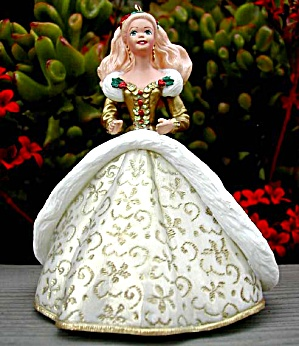1994 QX521-6 HOLIDAY BARBIE #2 Gold White Gown Christmas Ensemble 94 Keepsake Ornamen (Image1)