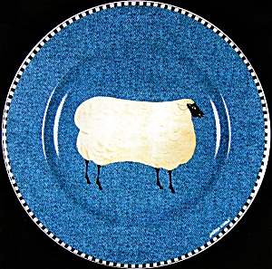 WARREN KIMBLE Wooly SHEEP BARNYARD ANIMALS Brandon House Sakura NY Stoneware Oneida 8 (Image1)