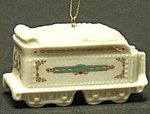 1992 Holiday Village Train Tender Car Annual Dated Porcelain White Gold Ornament