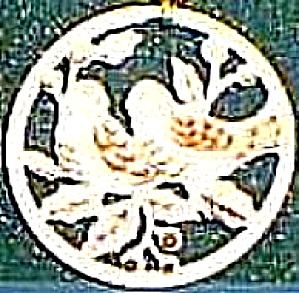 1988 TWO 2 TURTLE DOVES 12 DAYS OF CHRISTMAS ANNUAL FLAT Round China Ivory Gold Trim (Image1)