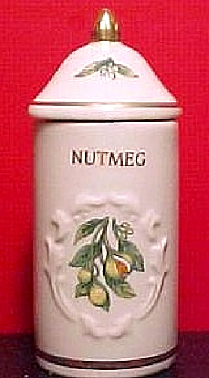 Spice Garden Giftware Lenox China Nutmeg Spice Jar Floral Spice Bouquets