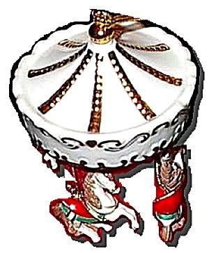 LENOX Porcelain HOLIDAY 3 Horse CAROUSEL ORNAMENT # 6092076 Undated Horses Christmas (Image1)