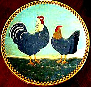 TWO ALARM MORNING Warren Kimble Barnyard Animals Collection Rooster Chickens Hen 1994 (Image1)