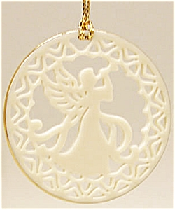 1989 Lenox Yuletide Angel With Horn White Gold Trim China 1/4 Annual Round Ornament