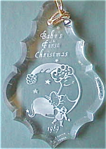 1991 Sliver Crescent Moon Mouse Teddy Crystal Scalloped Dated Teardrop Lenox Ornament