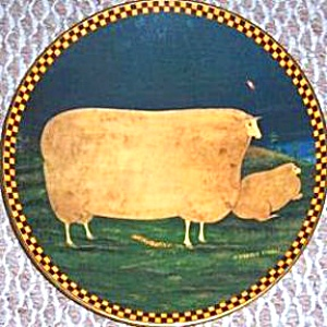 WOOLGATHERING SHEEP Warren Kimble Barnyard Animal Series Japan Lithograp France Lenox (Image1)