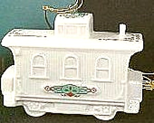 1989 Yuletide Express Train Caboose Annual Dated 3-d Ivory China 24k Gold Lenox '89