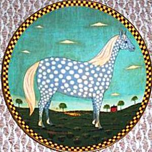 POLKA DOT DAPPLE GRAY GREY Warren Kimble Barnyard Animals Collection LENOX Horse '94 (Image1)