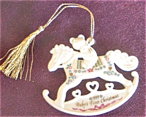 99 BABY'S 1ST First CHRISTMAS TEDDY BEAR + ROCKING HORSE Dated Flat Porcelain (Image1)