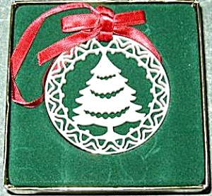 Lenox china Yuletide Christmas Tree 24K gold trim Ornament MIB 1985 Xmas 85 Green box (Image1)
