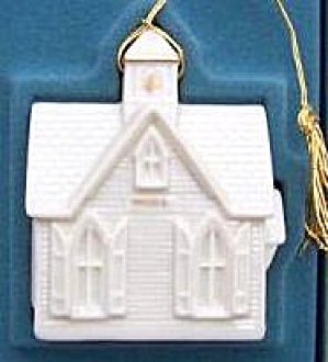 Lenox Christmas Village Dated 1989 Church Ornament Ivory 24k Gold #1 First China Box