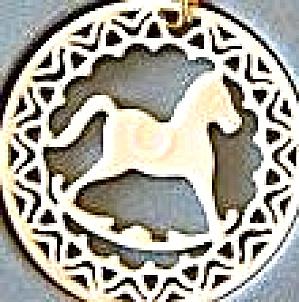 Lenox china Yuletide Rocking Horse 24K gold trim Ornament MIB 1985 Xmas 85 Green box (Image1)
