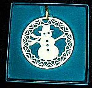 Lenox china Yuletide Snowmen Snowman 24K gold trim Ornament MIB 1982 Xmas 82 Green bx (Image1)