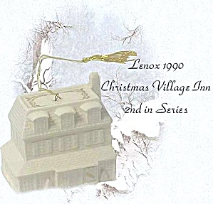 Lenox Christmas Village Inn Dated 1990 ORNAMENT Ivory 24K gold #2 Second Series China (Image1)