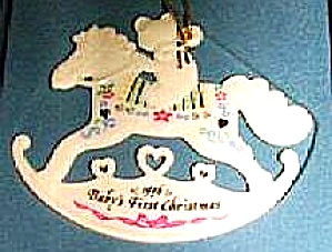 1996 BABY'S 1ST FIRST CHRISTMAS TEDDY BEAR ROCKING HORSE Dated Flat Porcelain Mint Bx (Image1)