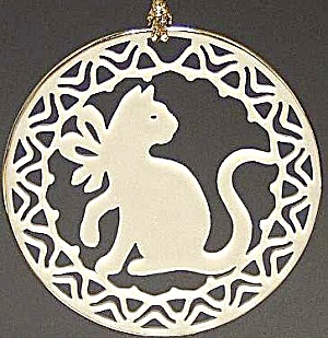 Lenox Ivory China Yuletide Cat 24k Gold Trim Ornament Miob 1996 Green Box Kitty Cord