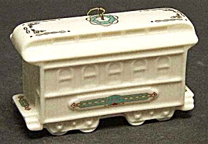 1990 Yuletide Express Train Passenger Car Annual Dated Porcelain White Gold Ornament