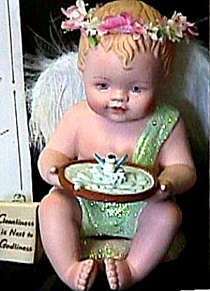 Cleanliness Is Next To Godliness Phyllis Parkins Little Messenger Angel Birdbath 1997