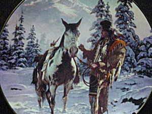 MORNING OF RECKONING  Chuck Ren LAST WARRIOR Series INDIAN BRAVE HORSE Snow Trees '93 (Image1)