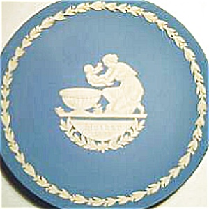 Mother's Day Plate Blue White Jasperware Wedgwood Wedgewood 1973 Baptism Achilles #3