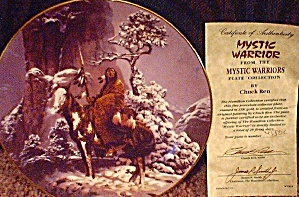 Mystic Warrior Mini-plate Chuck Ren Artist Indian Brave Horse Spear Native American