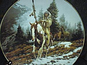 WINDRIDER Mystic Warrior Mini-Plates Chuck Ren Artist Indian Horse Spear Native Ameri (Image1)