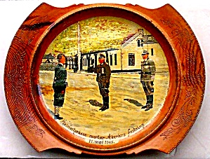 German Nazis Surrender in Norway Painted Wooden Plate May 11th 1945 WWII Hitler (Image1)