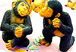 Noahs Endearing CHIMPANZEE CHIMP Mates Pair Art Elfie Harris Hamilton Collection (Image1)