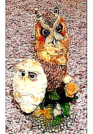 NESTING INSTINCTS OWLS : PEACEFUL PERCH MOM & BABY OWLET by R. WILLIS (Image1)