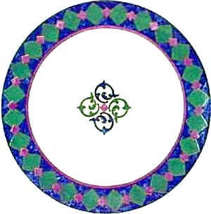 Amalfi Classic Pfaltzgraff China 1996 - 2005 Salad Plate Navy, Burgundy & Dark Green