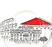 Rome Italy Cities In Sketch Poole Pottery UK Pantheon Colisseum Trevi Fountain Plate  (Image1)