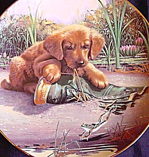 CATCH OF THE DAY GOLDEN RETREIVER PUPPY PLAYTIME Art: Jim Lamb River Shore Boot Frog (Image1)