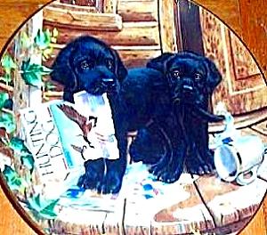 PUPPY PLAYTIME CABIN FEVER BLACK LABRADORS Artist Jim Lamb River Shore (Image1)
