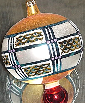 Valcourt Ball 94-213-0 1994 Christopher Radko Poland Geometric Design Ornament Ornie