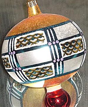 VALCOURT Ball 94-213-0 1994 Christopher Radko POLAND Geometric Design Ornament Ornie (Image1)