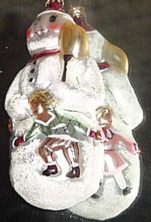 SNOW DANCING 1993 94-091-1 Snowman W/Ring Of Dancers Christopher Radko (Image1)