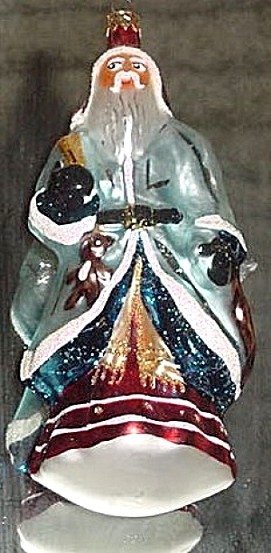 PERE NOEL 1995 95-041-0 GERMANY Blue Santa Teddy Bear Christopher Radko (Image1)