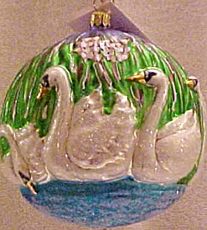 7 Seven SWANS A SWIMMING SP42 SP-42 12 Twelve DAYS of CHRISTMAS Radko 1999 Ornament L (Image1)