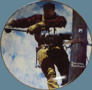 NORMAN ROCKWELL THE TELEPHONE LINEMAN Plate 1947 AD AT&T Pioneers Of America N.E.T&T. (Image1)