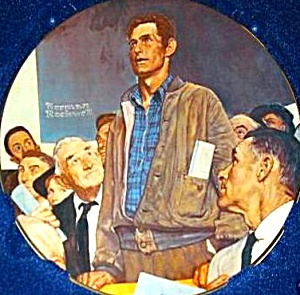 Freedom of Speech Norman Rockwell 4 Four Freedoms Rivershore Plate MIB Limited Editio (Image1)