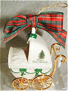 2000 BABY'S FIRST CHRISTMAS TREE SPODE PATTERN Baby Buggy ORNAMENT (Image1)