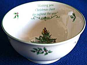 SPODE CHRISTMAS TREE Revere Candy Bowl w Legend 30CTE400 S3324 2006? Green Trim Cheer (Image1)