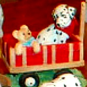 1996 Spot Takes A Ride Dalmation In Red Wagon