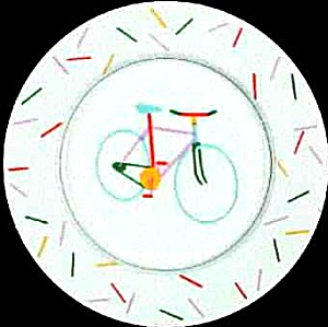 EASY RIDER STUDIO NOVA #L9185 BIKE BICYCLE Dinnerware Collectible CHOP/ROUND PLATTER (Image1)