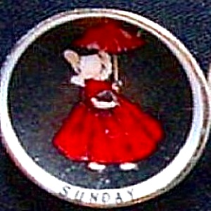 SUNBONNET BABY Mini 1 1/8 inch Porcelain Days Of The Week SUNDAY Limited Edition (Image1)