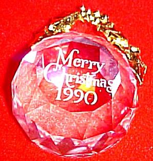 1990 SWAROVSKI CRYSTAL ANNUAL DATED Crystal Ball ORNAMENT (Image1)