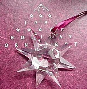 '91 Swarovski #1 Annual Giftware Suite Star Snowflake 2 1/2 in Silver Hanger US 1991 (Image1)