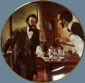 COME HERE WATSON  Alexander Graham Bell Ad AT&T BELL TELEPHONE PHONE George Rapp. (Image1)