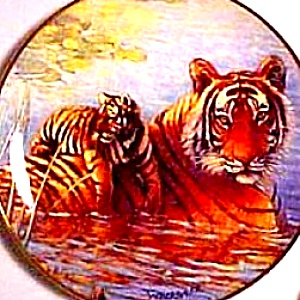 Royal Doulton Tigers Of The Wild Afternoon Swim FRANKLIN MINT Tiger Cat W. Weberbauer (Image1)
