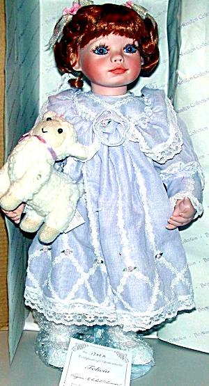H C FELICIA Virginia Ehrlich Turner Original Girl w/plush lamb 19 inch Porcelain (Image1)